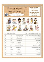 English Worksheets: Have you got / Has she/he got ... - with short answers