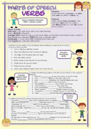 English Worksheet: Parts of speech (1) - Verbs (fully editable)