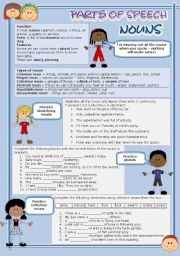 English Worksheet: Parts of speech (2) - Nouns (fully editable)