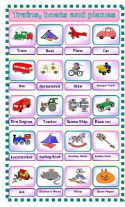 English Worksheet: Trains, Boats and Planes