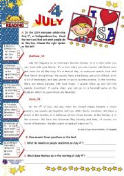 English worksheet: July 4th  -  Reading Comprehension