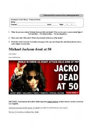 English Worksheet: Michael Jackson Dead at 50