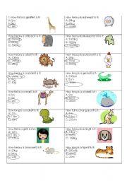 english worksheets animal measurement quiz. Black Bedroom Furniture Sets. Home Design Ideas