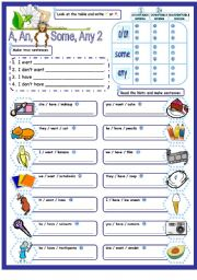 English Worksheet: A, an, some, any with countable & uncountable nouns part 2 incorporating review of simple present - positive, negative & interrogative forms