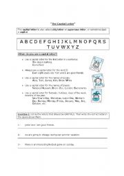 English Worksheets: The Capital Letter