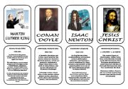 English worksheet: Famous people speaking cards (was,were) part 7