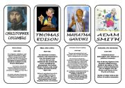 English worksheet: Famous people speaking cards (was,were) part 8