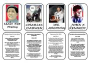 English Worksheet: Famous people speaking cards (was,were) part 9