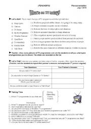 English Worksheets: Conversation Class about Types of TV Programmes (All answers included)