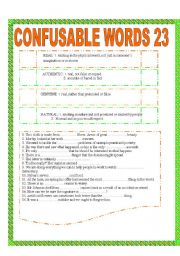 English Worksheet: CONFUSABLE WORDS 23: REAL-AUTHENTIC-GENUINE-NATURAL / WEALTHY-AFFLUENT-WELL-OFF-OPULENT