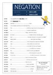 english worksheets negation with don t and doesn t. Black Bedroom Furniture Sets. Home Design Ideas