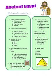 English Worksheet: Test about mummyfication  and Ancient Egypt