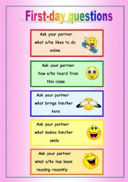 English Worksheets: QUESTIONS FOR THE FIRST DAY