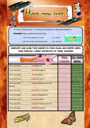English Worksheets: Have you ever...?