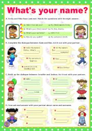 English Worksheet: What´s your name?  -  mini dialogues