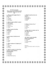 English Worksheets: World Geography Quiz