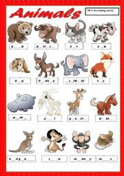 ANIMALS 1 - FILL IN THE MISSING VOWELS