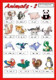 ANIMALS 2 - FILL IN THE MISSING VOWELS