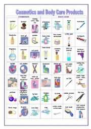 English Worksheet: Cosmetics and Body Care Products