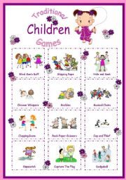 English Worksheet: Traditional Children Games-Poster