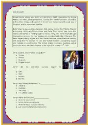 English Worksheet: BOB MARLEY