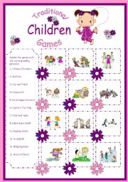 English Worksheet: Traditional Children Games-Matching
