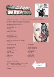 English Worksheet: CHRISTINA AGUILERA �NOT MYSELF TONIGHT�            !!LATEST HIT!!