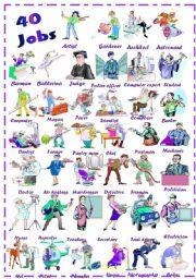 English Worksheet: Find 40 jobs