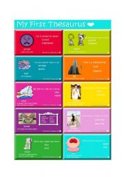 English Worksheets: My First Thesaurus