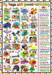 English Worksheet: TOYS AND GAMES -MATCHING (B&W VERSION INCLUDED)