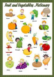 English Worksheet: FRUIT & VEGETABLES - PICTIONARY