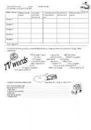 English Worksheet: TV and Me- a class survey and something else