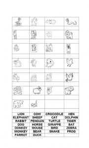 English Worksheets: animales