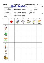 English Worksheets: Alphabet Battleship