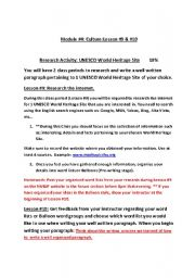 English Worksheets: UNESCO world heritage writing assignment