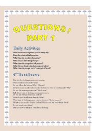 English Worksheets: GENEAL QUESTIONS!