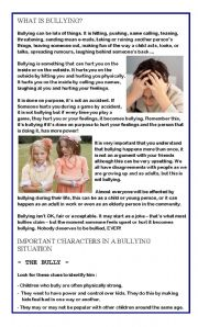 English Worksheet: HOW TO DEAL WITH BULLYING - PART 1 -