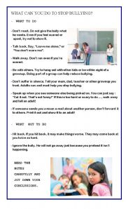 English Worksheet: HOW TO DEAL WITH BULLYING - PART 2 -