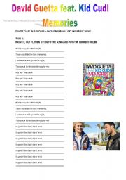 English Worksheet: DAVID GUETTA feat KID CUDI �MEMORIES� !!LATEST HIT!!