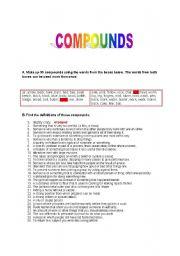 English Worksheet: Compounds