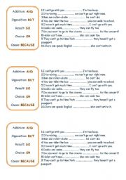 English Worksheets: because , but, so, and, or