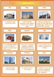 English Worksheets: Types of dwellings. (Part 2)