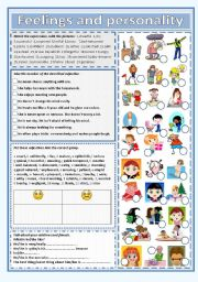 English Worksheet: Feelings and personality with 66 adjectives!!!