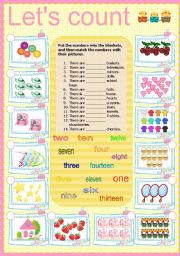 English Worksheet: let�s count