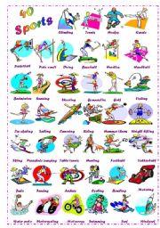 English Worksheet: Find 40 Sports