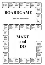 English Worksheets: Boardgame - MAKE and DO (editable, a key, a list of expressions)