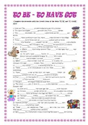 English Worksheet: TO BE- TO HAVE GOT