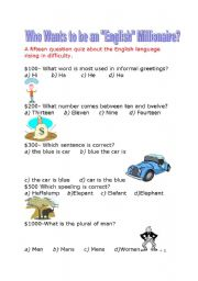 English Worksheet: Who Wants To Be An English Millionaire?