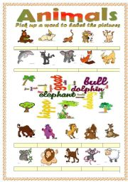 Animals vocabulary (word mosaic included)