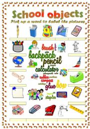 English Worksheet: school objects vocabulary (word mosaic included)